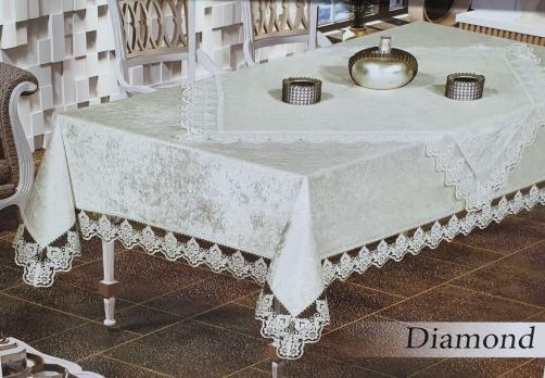 Скатертина Set Велюр Maison Royale 160x220+100x100 Diamond Cream
