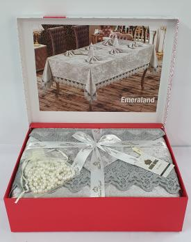 Скатертина Set Велюр Maison Royale 160x220+100x100 Diamond Grey