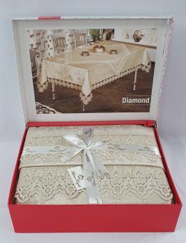 Скатертина Set Велюр Maison Royale 160x350+100x100 Diamond Cappucino