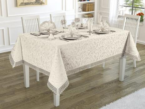Скатертина Kurdeleli Set Maison Royale 160x300+12 psc Cream