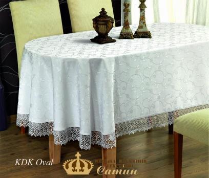 Скатертина мереживо Maison Royale 160x220 Овал KDK White