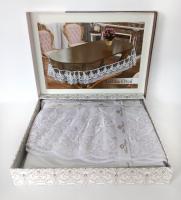 Силиконовая скатерть с кружевом Maison Royale 160х220 ovale Lukka White