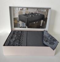 Скатертина  Set Maison D'or 160х320+8psc Palmer Grey-Black