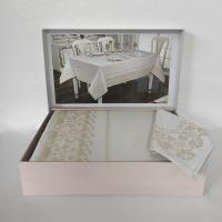 Скатертина Set Maison D'or 160х320+8psc Palmer White-Beige