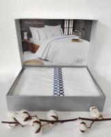 Постільна білизна Maison D'or сатин з вишивкою 200х220 Premium Navy
