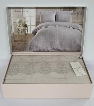 Постельное белье Maison D'or сатин жаккард с кружевом 200x220 Mirabella Dantela Stone