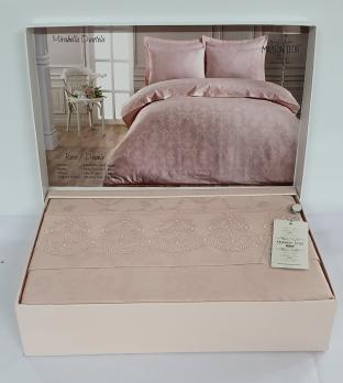 Постельное белье Maison D'or сатин жаккард с кружевом 200x220 Mirabella Dantela Rose