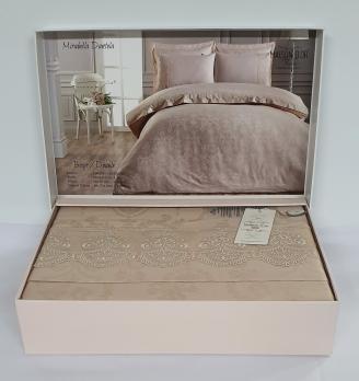 Постельное белье Maison D'or сатин жаккард с кружевом 200x220 Mirabella Dantela Beige