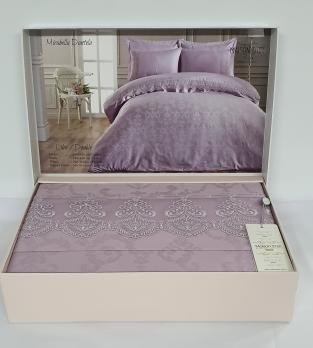 Постельное белье Maison D'or сатин жаккард с кружевом 200x220 Mirabella Dantela Lilac