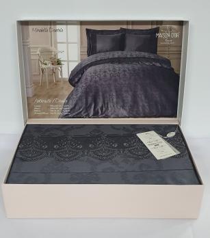 Постельное белье Maison D'or сатин жаккард с кружевом 200x220 Mirabella Dantela Anthracite