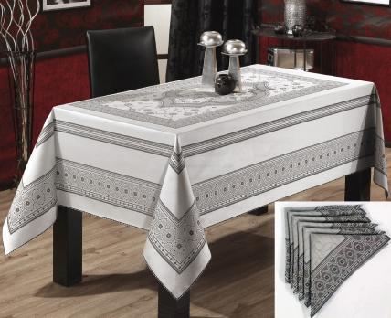 Скатерть Set Sagol тефлон 160x260+8 psc St-052 Grey