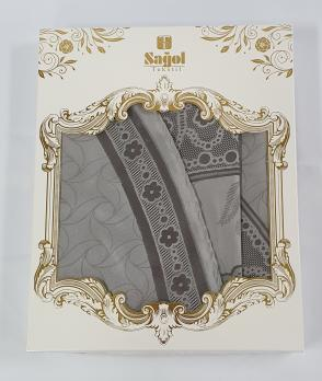 Скатерть Set Sagol тефлон 160x300+8 psc St-052 Grey