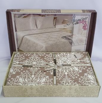 Покрывало My Bed Жакард 240x260 с наволочкой Harmony Kahve