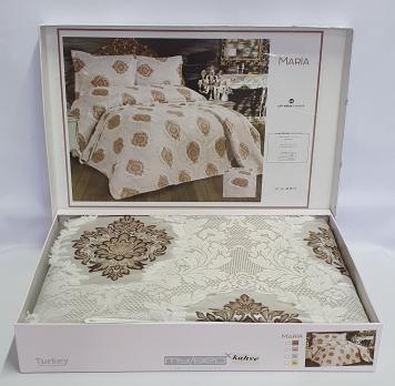 Покрывало My Bed з китичками 240x260 с наволочками Maria Kahve