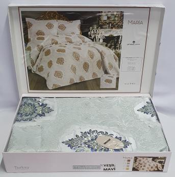 Покрывало My Bed з китичками 240x260 с наволочками Maria Yesil mavi