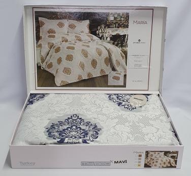 Покрывало My Bed з китичками 240x260 с наволочками Maria mavi