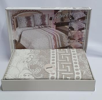 Покрывало My Bed Жакард 170x240 с наволочкой Versace Kahve