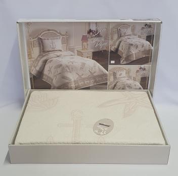 Покрывало My Bed Жакард 170x240 с наволочкой Sea Kream