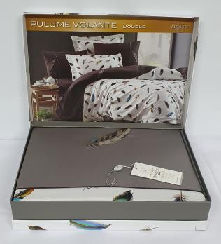 Постельное белье Maison D'or сатин с вышивкой 200х220 Pulume Volante Antracite