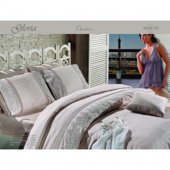 Постельное белье Maison D'or сатин с кружевом 200х220 Gloriya Beige