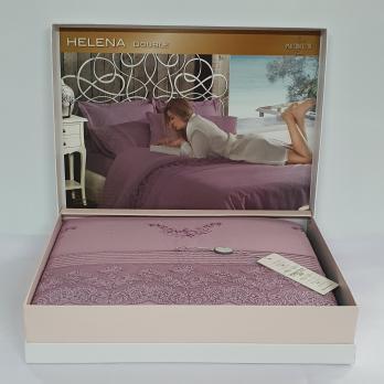 Постельное белье Maison D'or сатин с кружевом 200х220 Helena Dark Lilac