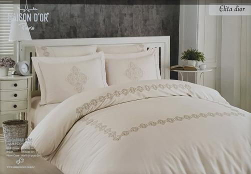 Постельное белье Maison D'or сатин с вышивкой 200x220 Elita Dior Pink