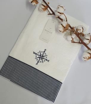 Полотенце Maison D'or Marine s poloskami 50x100 White/Lacivert
