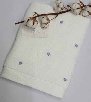 Полотенце Maison D'or Love 50x100 White/Dark Lilak