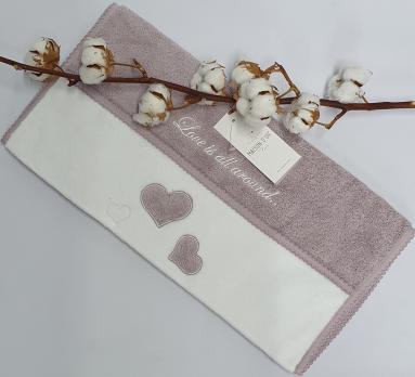 Полотенце Maison D'or Monique Hearts 50x100 Dark Lilac