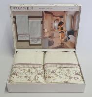 Полотенца Maison D'or 2шт Roses Бамбук 50x100 Ekru Dark Lilac