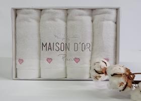 Рушники Maison D'or 4 шт Micro Love Set White - Pink