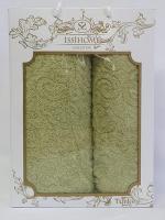 Набор махровых полотенец Issihome жакард зеленый