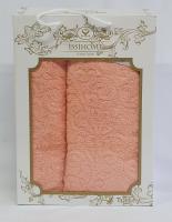 Набор махровых полотенец Issihome жакард персиковый