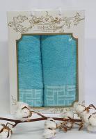 Набор махровых полотенец Issihome кубик ментоловый