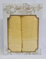 Набор махровых полотенец Issihome кубик желтый