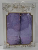 Набор махровых полотенец Issihome узор фиолетовый