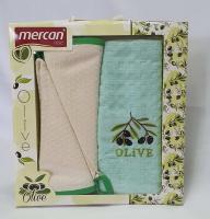 Набор вафельных полотенец 2+1 шт 02 Olive