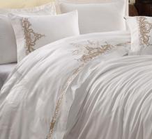 Постельное белье вышивка Dantela 200x220 Olivia Bej