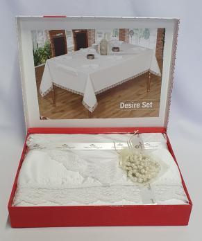 Скатерть Set Maison Royale 160x220+8 psc Desire White