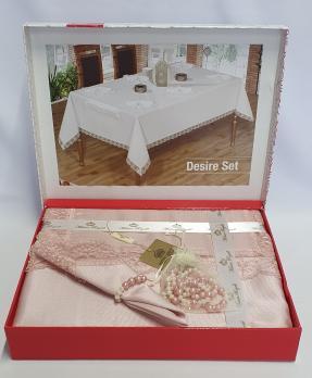 Скатерть Set Maison Royale 160x220+8 psc Desire Powder