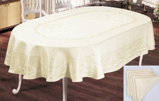 Скатерть Set Sagol тефлон 160x300+8 psc ovale Sgl-003 Cream
