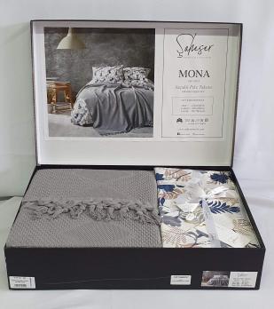 Набор покрывало с простыней+наволочки Pique Saheser Mona Grey