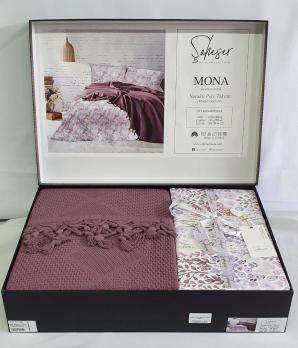 Набор покрывало с простыней+наволочки Pique Saheser Mona Plum
