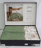 Набор покрывало с простыней+наволочки Pique Saheser Mona Green