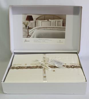 Постільна білизна двоспальна євро Pepper Home Jessica Cream-Gold 200x220