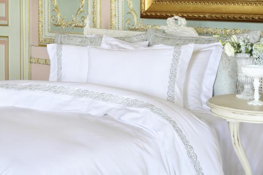 Постельное белье двуспальное евро Pepper Home Carmina White-Green 200x220