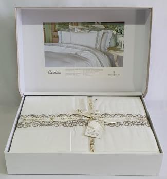 Постельное белье двуспальное евро Pepper Home Carmina White-Stone 200x220