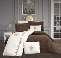 Набор покрывало с постельным бельемное белье Ayberk Valencia Kahve