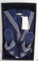 Халат мужской Maison D'or Marine Striped Navi Blu M
