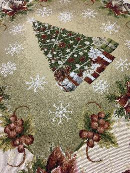Скатерть новогодняя гобеленовая квадратная Sagol 140х140 ST-135